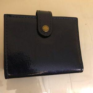 Coach Midnight Blue Patent Leather Tri-Fold Wallet